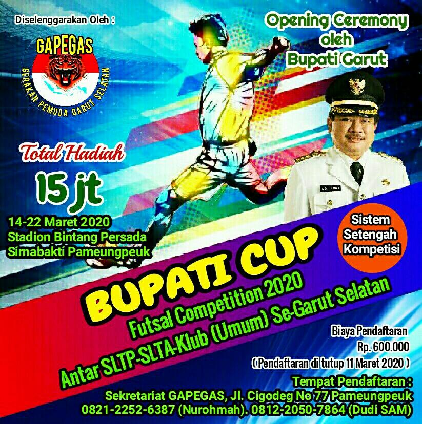 BUPATI CUP Futsal Competition 2020 Antar SLTP-SLTA-Klub Umum Se Garut Selatan